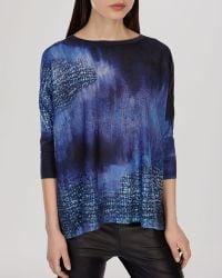 Karen Millen Sweater - Indigo Print Knit - Lyst