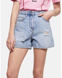 MSGM - Shorts In Denim - Lyst