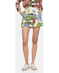 Stella Jean - Floral Printed Cotton Shorts - Lyst