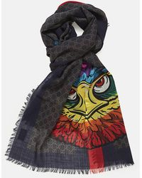 260faf9af Gucci GG Wool Stole With Wolf in Black for Men - Lyst