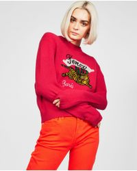 c99b0597e18 Kenzo Jumper Sweater Crew Neck Round Bamboo Tiger in Pink - Lyst