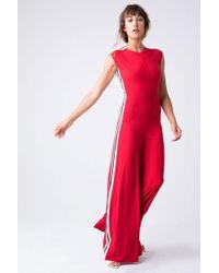 Norma Kamali - Side Stripe Sleeveless Jumpsuit - Tango Red/engineered Stripe Print - Lyst