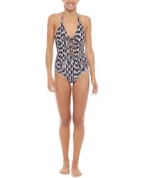 Amuse Society Elese Halter Lace Up One Piece Swimsuit - Black Sands Geometric Print