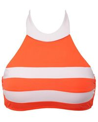 Seafolly - Block Party High Neck Bi-color Bikini Top - Nectarine/white - Lyst