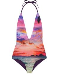 Water Glamour - Deep V Reversible One Piece - Lyst