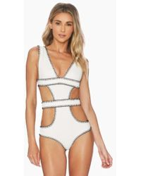 Ellejay - Amores Cut Out One Piece Swimsuit - Ivory Texture - Lyst