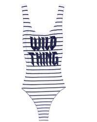 Wildfox - Candice One Piece - White Navy Pinstripe - Lyst