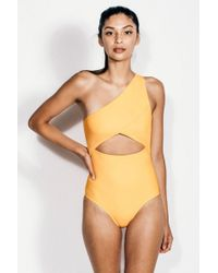 KORE - Calypso One Shoulder Cut Out One Piece Swimsuit - Orange Sherbet - Lyst