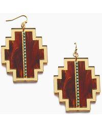 Sandy Hyun - Geometric Antique Dangle Earrings - Gold/red - Lyst