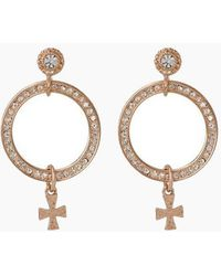 Luv Aj - The Moroccan Pave Loop Stud Drop Earrings - Rose Gold - Lyst