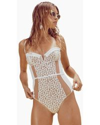 For Love & Lemons - Lolita Lace One Piece Swimsuit - Ivory - Lyst