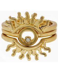 Luv Aj - Sunburst Ring Set - Gold - Lyst