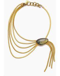Lena Bernard - Nerissa Labradorite Pendant Gold Fringe Collar Necklace - Lyst