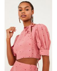 For Love & Lemons - Rosie High Neck Button Up Crop Top - Rose Pink Polka Dot Print - Lyst
