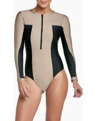 Pilyq - Ace Zip Rashguard Bodysuit - Cadillac Nude/black - Lyst