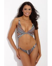 S.I.E SWIM - Kyle Twist Wrap Bikini Top - Stripe Print - Lyst