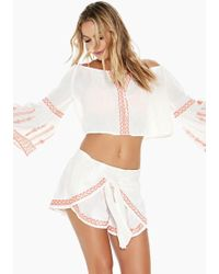 L*Space - Ivy Tie Front Shorts - Ivory - Lyst