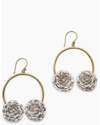 Lena Bernard - 2 Roses Gold Hoop Dangle Earrings - Lyst