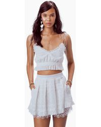 For Love & Lemons - Charlotte Eyelet Mini Skirt - White Heart - Lyst
