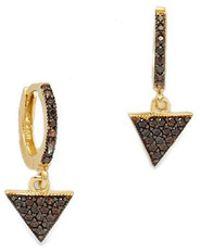 Talia Naomi - Black Triangle Sleeper Hoop Earrings - Lyst