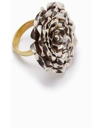 Lena Bernard - Large Rose Statement Ring - Silver/gold - Lyst