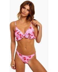 Motel - Quella Ruffled Triangle Bikini Top - Candy Rose - Lyst