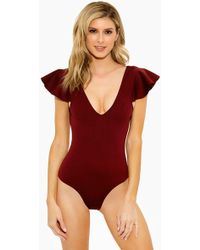 10 Crosby Derek Lam - Ruffle Sleeve V Neck Maillot One Piece Swimsuit - Burgundy - Lyst