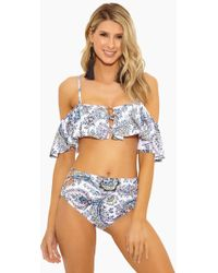 Ella Moss - Breezy Boho Shoulder Bra Bikini Top - White Floral - Lyst