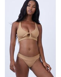 L*Space - Tara Front Bow Tie Bikini Top - Camel - Lyst