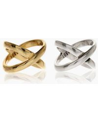 Luv Aj - Xavier Rings (set Of 2) - Gold/silver - Lyst