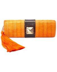 KATE CHAN - Simone Orange Woven Clutch - Lyst