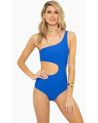 Rosa Cha - Geo Asymmetric One Piece Swimsuit - Solid Blue - Lyst