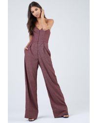 Fleur du Mal - Wide Leg Wool Corset Jumpsuit - Pink Prince Print - Lyst