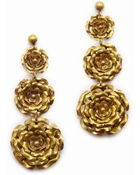 Lena Bernard - 3 Roses Gold Drop Earrings - Lyst