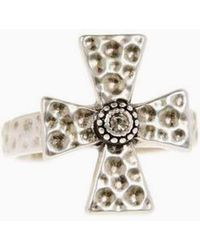 Luv Aj - The Hammered Cross Signet Ring - Silver - Lyst