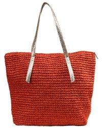Bikini.com - Straw Tote With Metallic Handle - Lyst