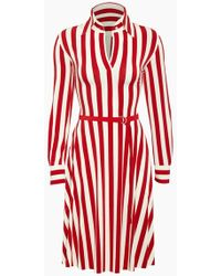 Norma Kamali - Shirt Collared Midi Dress - Tango Red 3/4 Stripe Print - Lyst