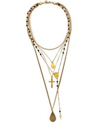 Vanessa Mooney - The Gold Vera Layered Rosary & Cross Necklace - Lyst