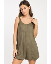 RVCA Jurys Out Romper - Burnt Olive - Green