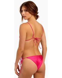 S.I.E SWIM - Baldwin Side Tie Bikini Bottom - Hibiscus Metallic - Lyst