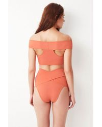OYE Swimwear - Lucette High Waisted Bikini Bottom - Coral - Lyst