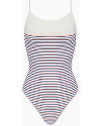 Solid & Striped The Chelsea Colour Block High Cut One Piece Swimsuit - Multi Breton Stripe Print