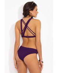 Prism - Sorrento Asymmetric Strappy Bikini Top - Plum - Lyst