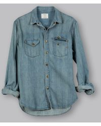 879208418b Lyst - Billy Reid Denim Shirt in Blue for Men