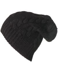 Black.co.uk - Black Cable Knit Cashmere Slouch Beanie - Lyst