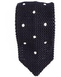Black.co.uk - Seborga Black Polka Dot Knitted Silk Tie - Lyst