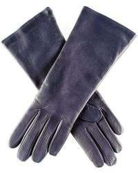 Black.co.uk - Midnight Navy Blue Leather Gloves With Cashmere Lining - Lyst
