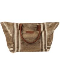 Black.co.uk - Porto Brown And Gold Hessian Beach Tote Bag - Lyst