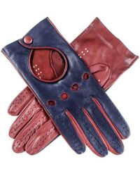 Black.co.uk - Ladies Navy And Burgundy Leather Driving Gloves - Lyst
