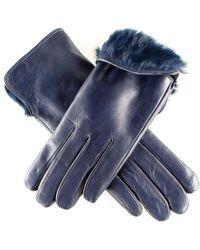 Black.co.uk - Ladies Navy Blue Rabbit Fur Lined Leather Gloves - Lyst